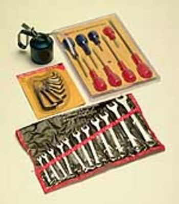 TOOL KIT, SPANNERS, ALLEN KEY, OIL CAN